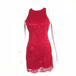 NBD Red Lace Mini Dress With Open Back